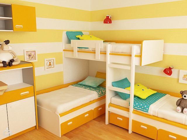 Фото дизайн детской комнаты для трёх девочек