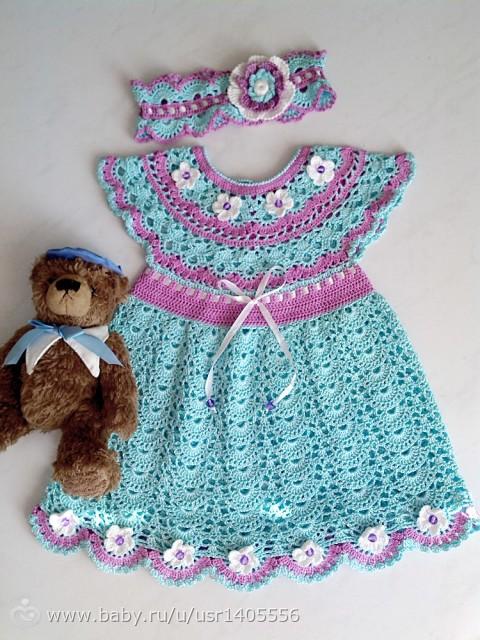 Вязание крючком детские платья и оформление цветочками 91