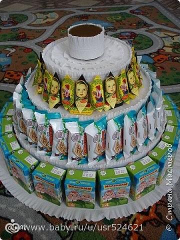 Как из сладостей сделать торт в садик