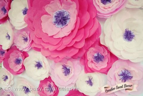 Цветы из бумаги тишью как сделать