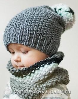 Вяжем шапку и снуд для мальчика