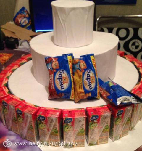 Как сделать торт в детский сад из соков и конфет в детский сад