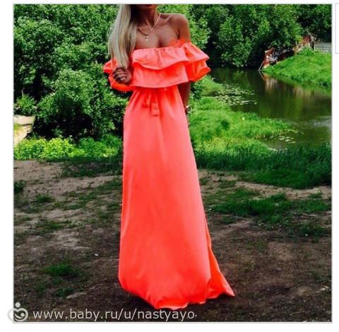 Красное платье в пол с открытыми плечами