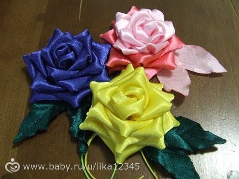 Цветы из лент мастер класс фото