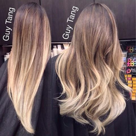 Плавный переход цвета волос от светлого к темному