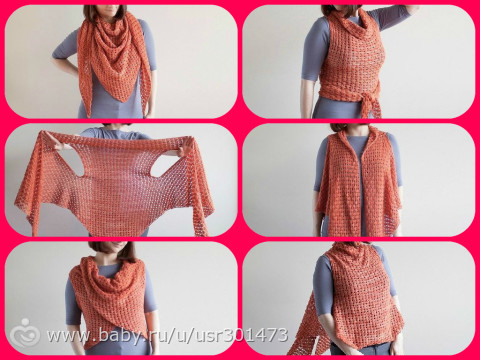 Вязание спицами шарфа трансформера 67