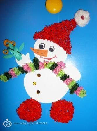 Поделка своими руками снеговик из ватных дисков своими руками