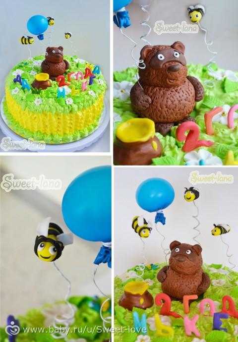 Как из коржей сделать торт в виде мишки