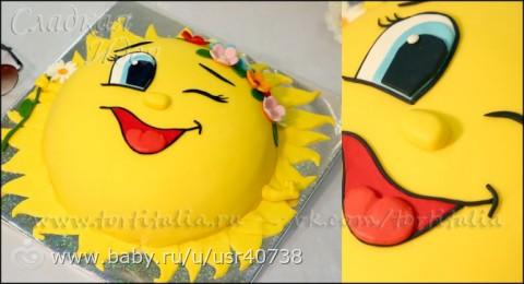 Торт в виде солнышка фото