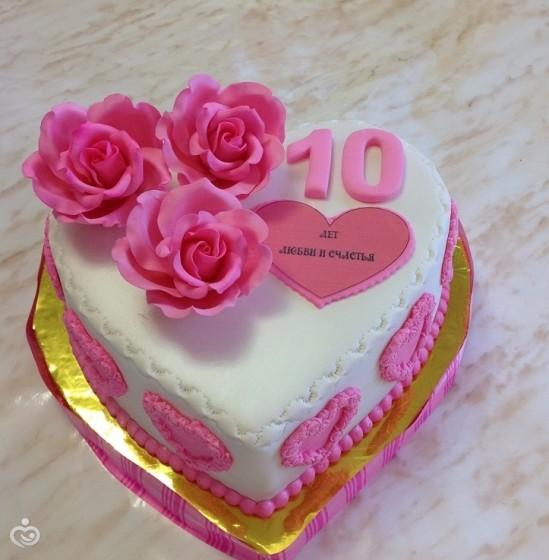 Фото торт на 10 лет свадьбы розовая свадьба