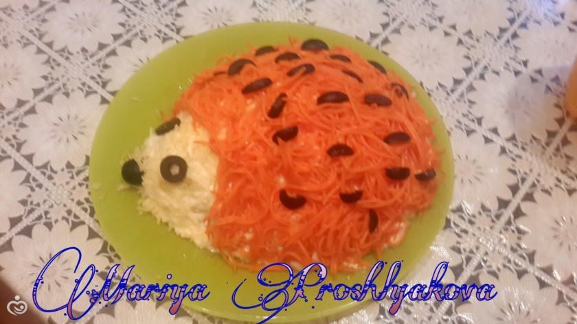 салат ежик с курицей и корейской морковкой