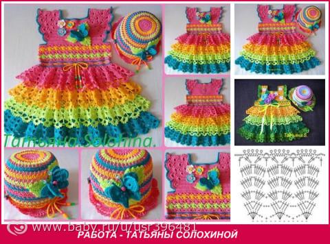 Вязание летнего платья для девочек 928