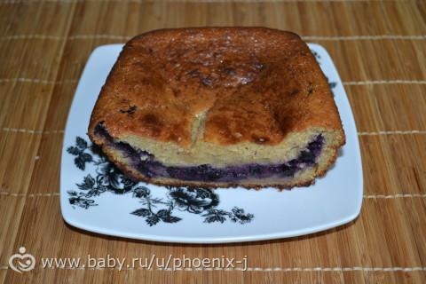 Творожно-овсяный кекс с черникой